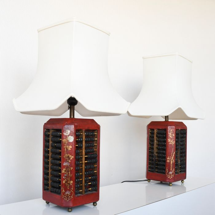 Table lamp, Asian four-sided abacus lamps