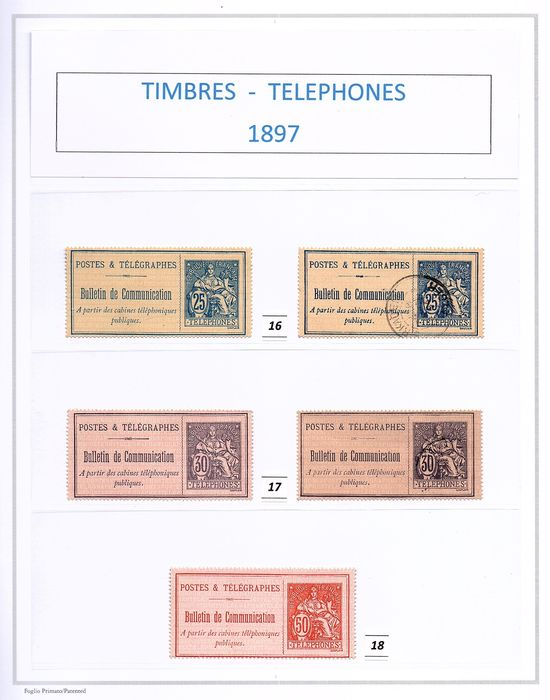 France - Telephone stamps, 1897 - Nos. 16 + 17 + 18 + 19 + 20 + 21. - Yvert 2019