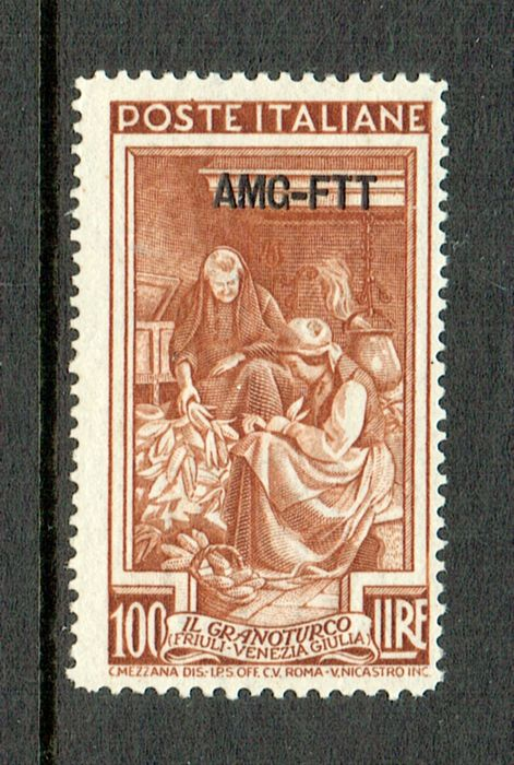 "Triëst - Zone A 1950 - Series ""Italia al Lavoro"" 100 lire, perforation 13¼ x 14¼ with overprint AMG-FTT - Sassone N. 106/I"
