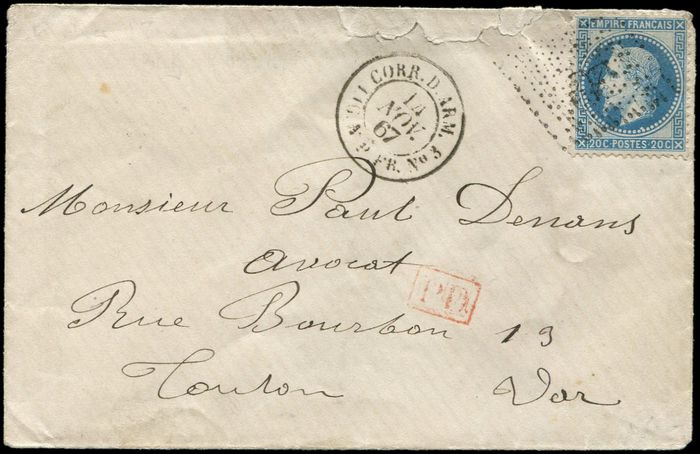 Frankreich 1870 - 20 centimes blue,  T I,  anchor cancellation on  cover, date stamp CORR.D.ARM. LIG.N P. FR NB03 - Yvert 29A