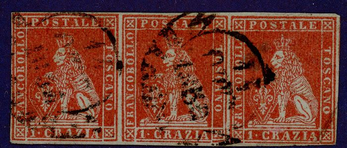 Italienische antike Staaten - Toskana 1851 - 1 cr. carmine on grey, strip of three - Sassone N. 4d