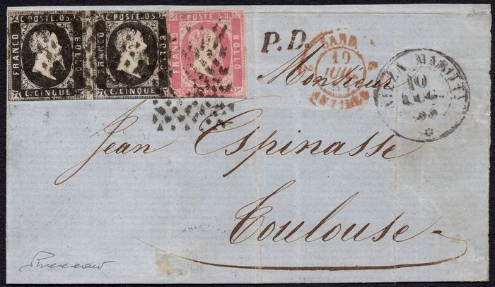 Antike italienische Staaten 1851 - 5c pair; 40c on letter from Nizza to Toulouse - Sassone NN. 1, 3d