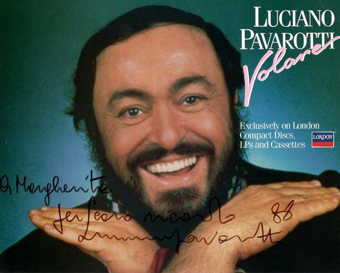 Luciano Pavarotti Italian Tenor - Autograph; Signed Original Photo with Dedication - 1988