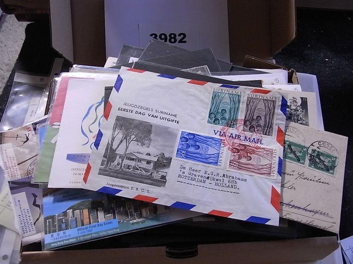 Welt 1870/1990 - Lot EOMD - All over the world on cards and miscellaneous. Also many classic and better stamps