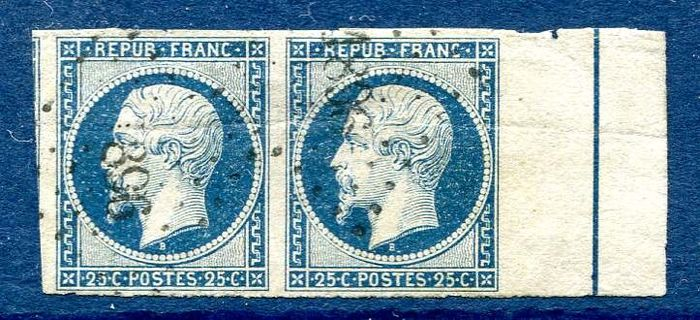 Frankreich - classics from France, No. 10b with framing net in pair, value: more than 1800 euros - Yvert 10b