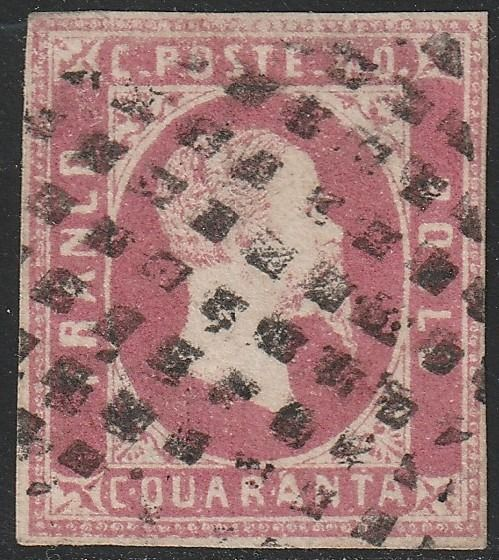 Italian Ancient States - Sardinia 1851 - 1st issue 40 c. bright pink carmine, very rare, 2 certificates - No Reserve - Sassone N.3b