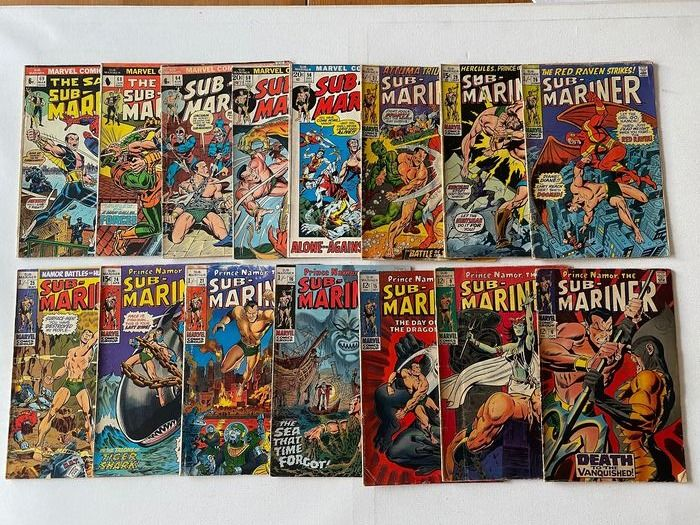 Prince Namor, The Sub-Mariner (1968 Series) 6+9+15+16+21+24+25+26+29+31+56+58+64+68+59 - Prince Namor , The Sub Mariner (1968 Series) - Softcover - Eerste druk - (1968/1973)