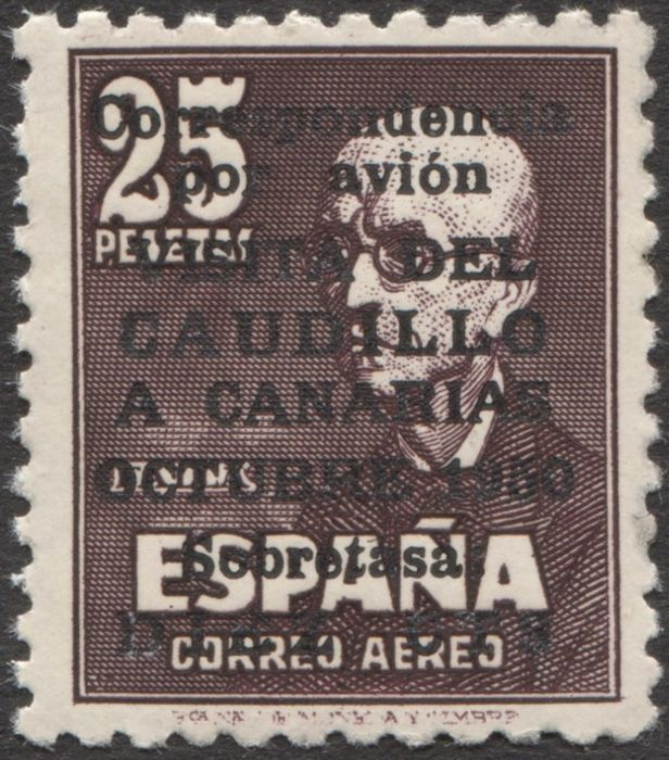 Spanje - Lokale uitgiften 1951 - Visit of Franco to the Canary Islands. Graus certificate. Very well centred. - Edifil 1090