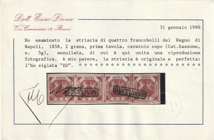 Italiaanse oude staten - Napels 1859 - 2 gr. 1st plate dark carmine, strip of 4, luxury, rare and certified - Sassone N.5g