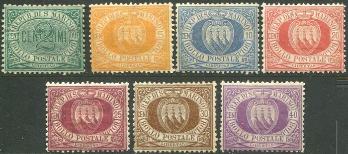 San Marino 1877 - Figure or coat of arms, first issue, set of 7 values.