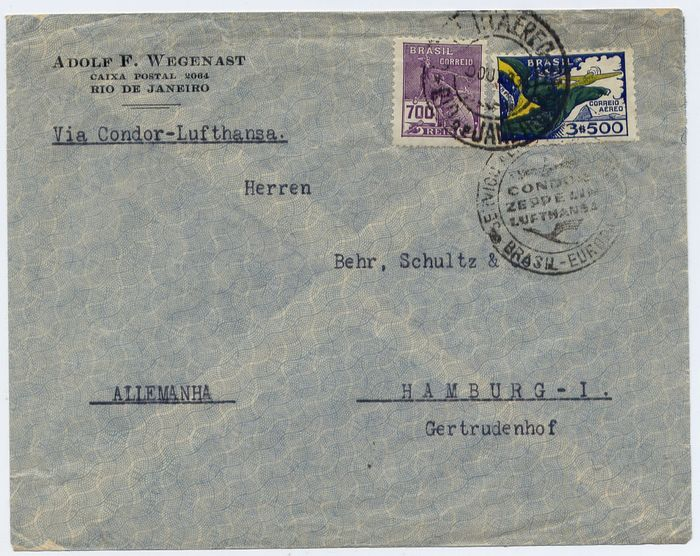 Brazil 1934 - Condor ZeppelinL30 - L28 - L16 - SS Westfalen catapult : lot of 3 covers from Brazil to Europe