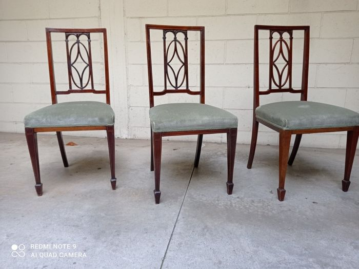 Chair (3) - Arts & Crafts - Mahogany, Maple - Late 19th century