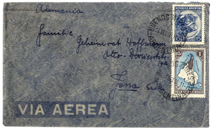 Argentina 1936 - Condor ZeppelinL192 - L196 : SS Westfalen catapult : lot of 2 covers from Buenos Aires to Europe