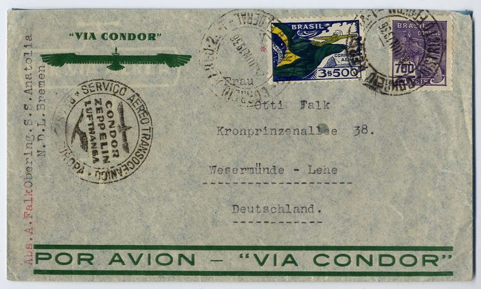 Brazil 1936 - Condor Zeppelin - SS Westfalen catapult : L176 - L186 - L200 : 3 covers from Rio to Germany