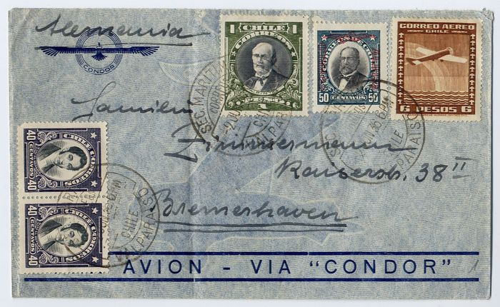 Chile 1936/1937 - Condor ZeppelinL172 - L 206 : SS Westfalen catapult : lot of 2 covers from Valparaiso to Germany