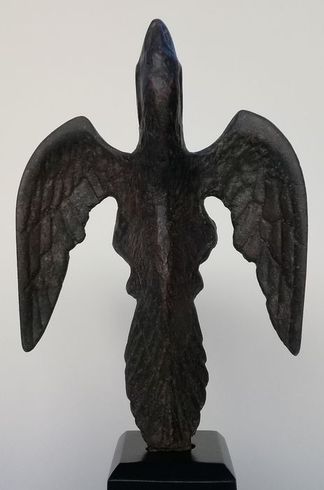 Ancient Roman Bronze eagle on wood stand - 17×12×6 cm