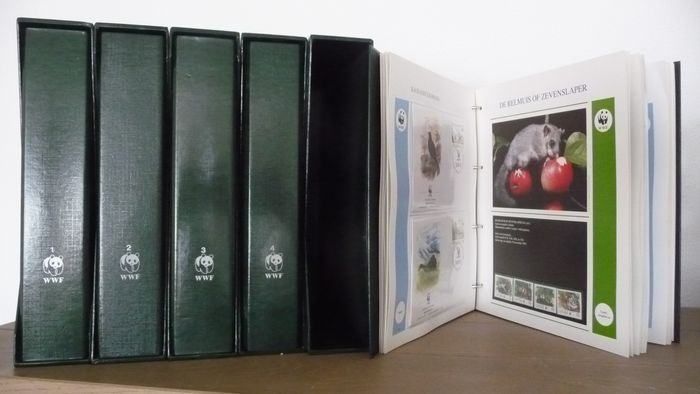 Welt 1983/1995 - WWF, collection including FDCs in five original albums and slipcase