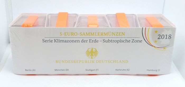 Duitsland. 5 Euro 2018 Suptropische Zone (5 pieces) sealed set