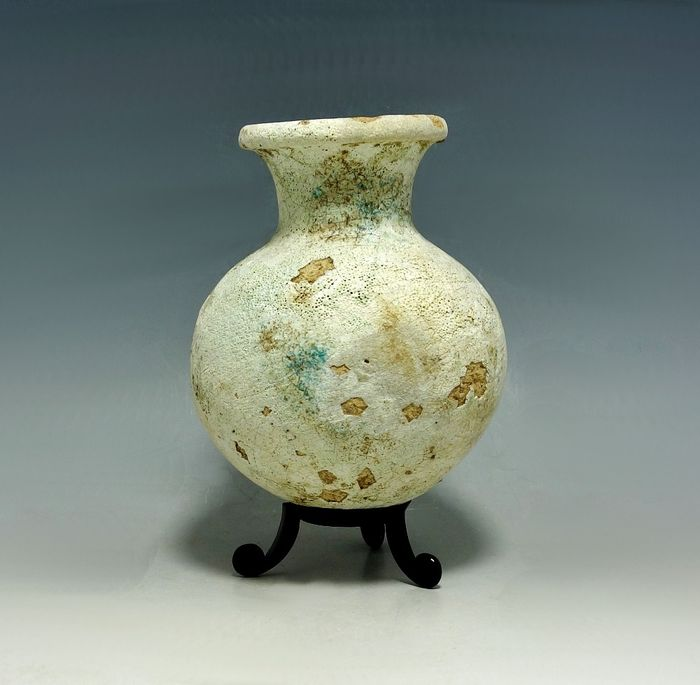 Ancient Persian (Zywie or Hasanlu) Pottery Faience Coated Beige Vessel - 100mm height Approx - (1)