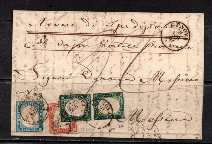 Anciens états italiens - Sardaigne 1855/1857 - 5 c. myrtle green, pair; 20 c. light blue; 40 c. vermilion on letter from Genoa to Messina - Sassone NN. 13A + 15g + 16a