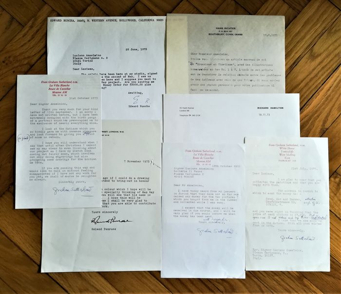 Ed Ruscha, Hans Richter, Richard Hamilton, Roland Penrose, Graham Sutherland - Signed letters to Luciano Anselmino - 1971/1975