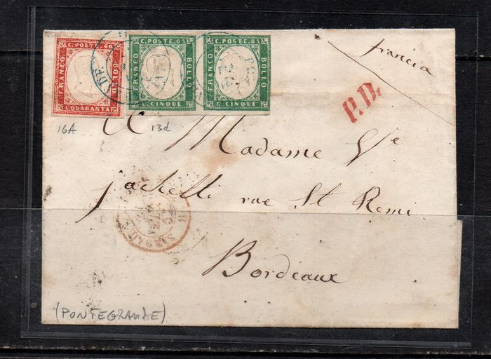 Italienische antike Staaten - Sardinien 1855/1857 - 5 c. emerald green, pair; 40 c. scarlet red on letter from Pontegrande (7 points) to Bordeaux. - Sassone NN. 13d/16A