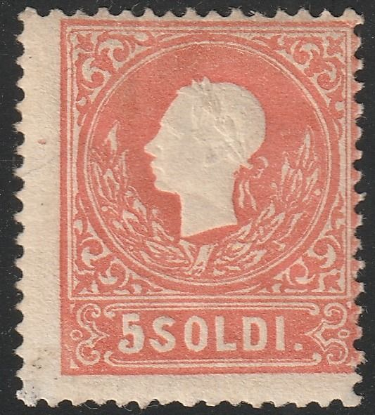 Italiaanse oude staten - Lombardije Venetië 1858 - 2nd issue 5 s. red, 1st type, very rare, with expertise - Sassone N.25