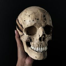 Stunning Hand-carved Human Skull Of Wood With A Beautiful Grain - Tamarind Wood