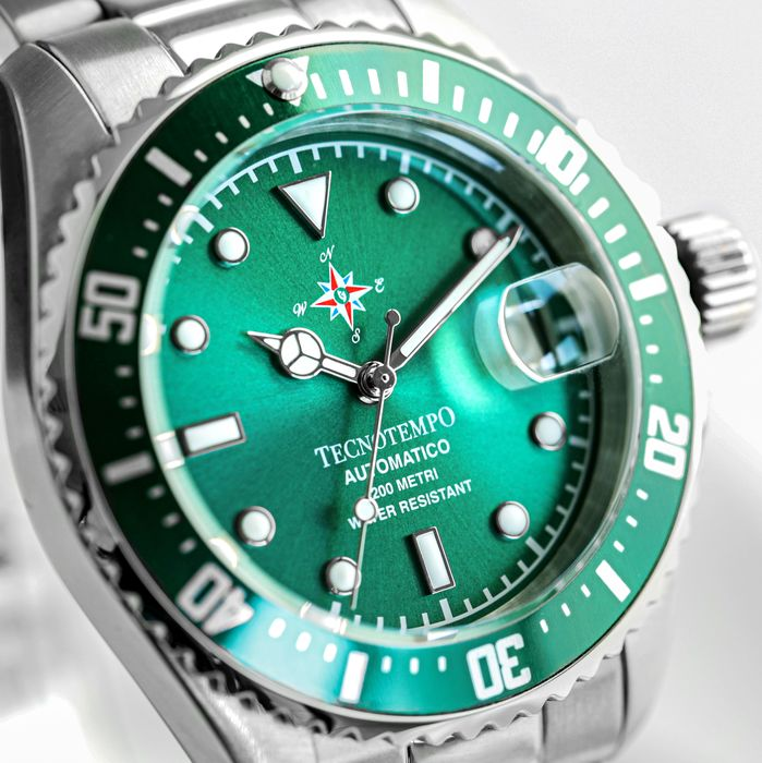 """Tecnotempo - - """"NO RESERVE PRICE"""" -  Diver 200 Metri WR """"Special Wind Rose Edition"""" 40mm -LIMITED EDITION 100PCS- - TT.200.RVV (Green) - Heren - 2011-heden"""