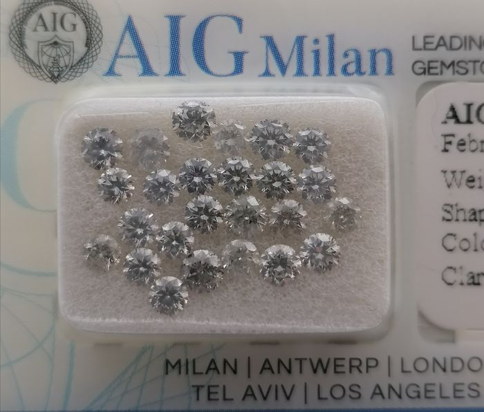 25 pcs Diamants - 2.52 ct - Brillant - D (incolore), E, F - ***no reserve price**vs1, vs2, si1, si2 2.60-3.20mm calibrated