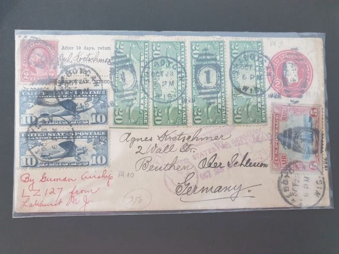 United States of America - Zeppelin flight 1st Northamerica Flight 1928 with 7 airmail stamps - Sieger 22