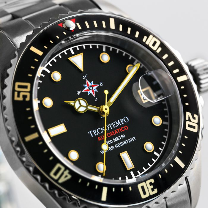 """Tecnotempo - - """"NO RESERVE PRICE"""" -  Diver 200 Metri WR """"Special Wind Rose Edition"""" 40mm -LIMITED EDITION 100PCS- - TT.200.RVNG (Black/Gold) - Herren - 2011-heute"""