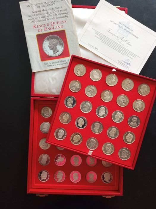 Reino Unido. Medals Proof 'Kings and Queens of England' (50 pieces) in sterling silver