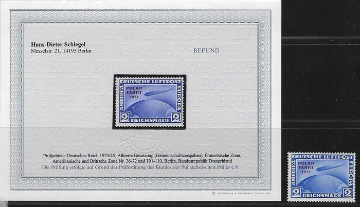 "Duitse Rijk 1931 - Polarfahrt Zeppelin, 2 Rm with printer error ""omitted hyphen"" - Michel 457 I"