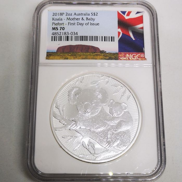Australia. 2 Dollars 2018 P Silver Koala - Mother and Baby Piefort - First day MS70 - 2 oz