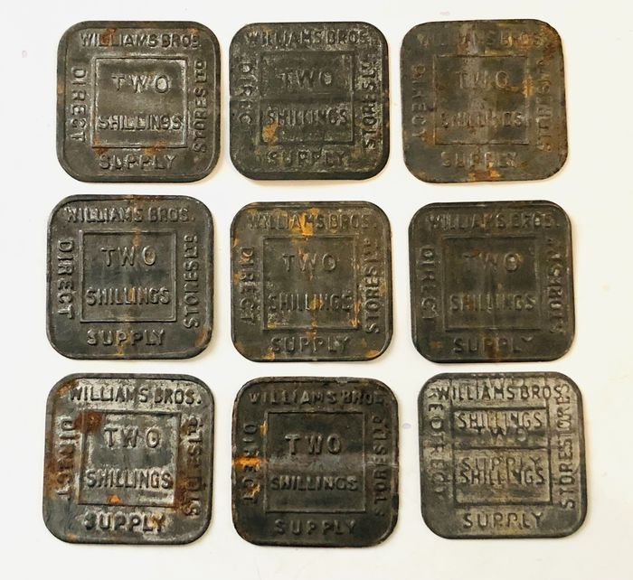 Reino Unido. 2 Shilling (Tokens) 20th century Williams Brothers Direct Supply Stores Ltd (9 pieces)