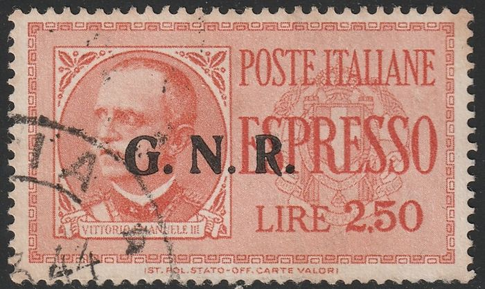 Italien 1944 - RSI express stamps, issue of Brescia 2.50 l. with GN of the 2nd type + R of the 3rd type, certified - Sassone N.20/IIa