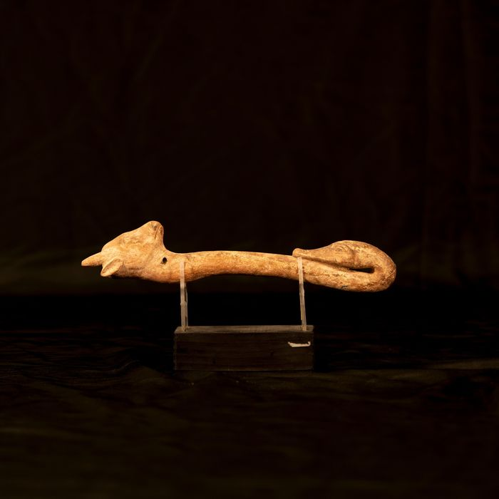 Ancient Egyptian Wood stick with zoomorphic heads, 30 cm