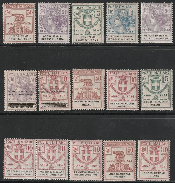 Kingdom of Italy - Parastatals 1924 - Collection of 15 rare intact pieces - Sassone NN.13/5+34+42+44+46+48/9+55+66+71+74