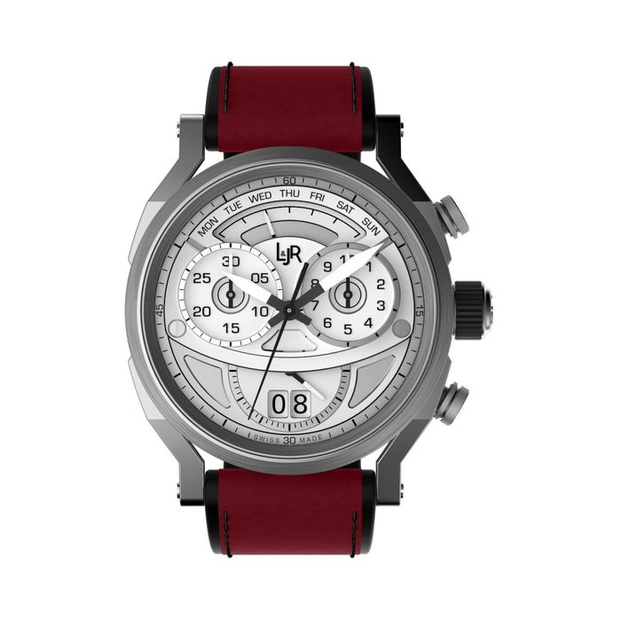 """L&JR - Chronograph Day and Date Steel Silver Burgundy Red - S1504-S12 """"NO RESERVE PRICE"""" - Heren - 2011-heden"""