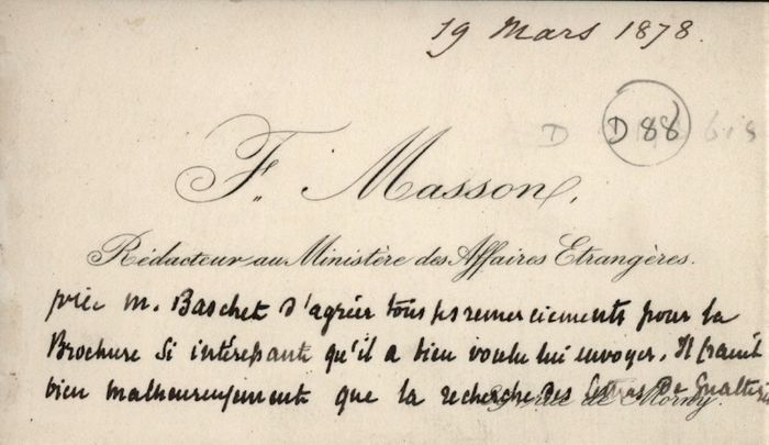 Frédéric Masson - Autograph; Personal Postcard Assumes Fake Guizot Signature for Sale - 1878