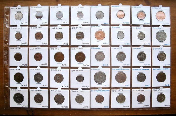 Isle of Man, Gibraltar, St Helena & Ascension. Type Coin Collection 1975/2003 (40 different coins)
