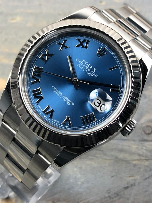 Rolex - Datejust II Roman Blue Dial 41MM Oyster 18K White Gold Bezel - 116334 - Hombre - 2011 - actualidad