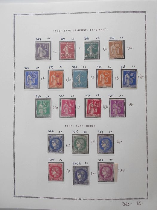 Frankreich 1938/1944 - Complete collection of semi-modern stamps on FA MOC - Yvert Entre les n°359 et 610