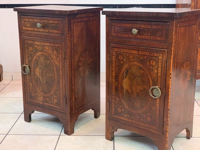 Inlaid bedside tables (2) - Wood - 19th century
