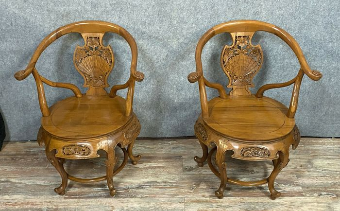Fauteuil, chinese style (2) - Exotic wood - Around 1900-1920