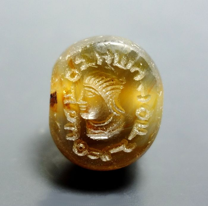 Sasanian Agate Stamp Seal Engraved With Male Bust & Inscription. Super Detail - 17mm diam