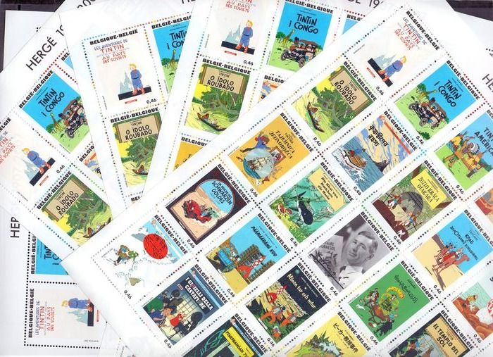 Belgien 2007 - Lot with comic strip heroes with five complete MNH, large sheets of Tintin - Including Hergé