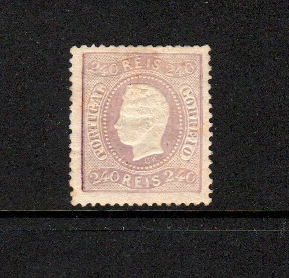 Portugal 1867 - D. Luis I, curved strip, perforated, 240 Reis, new - Mundifil 35