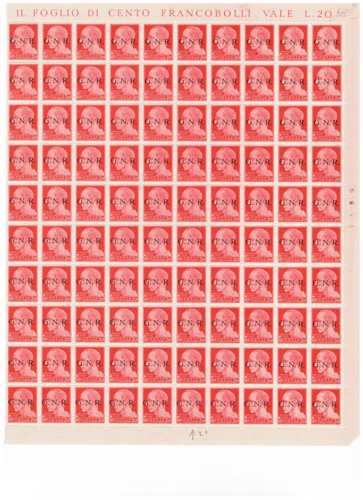 Italien 1943 - RSI - 20 cents Brescia issue, sheet of 100 (with three margins) - Sassone N. 473/I